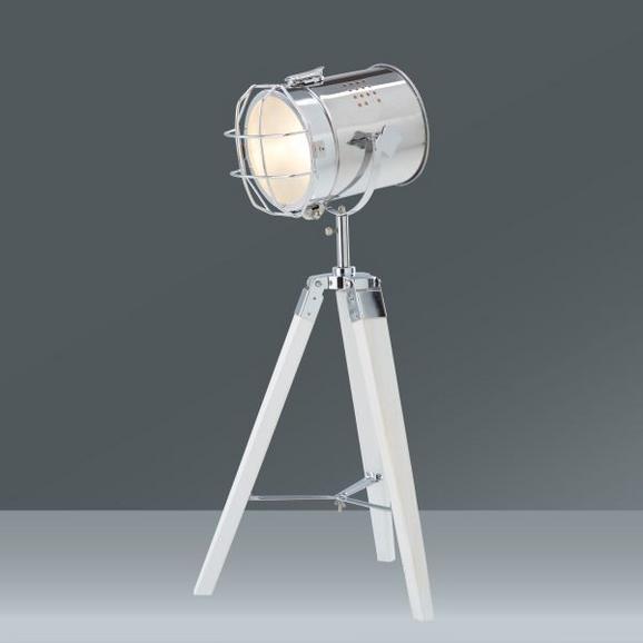Tischleuchte Aural, max. 25 Watt - Chromfarben/Weiß, Holz/Metall (76cm)
