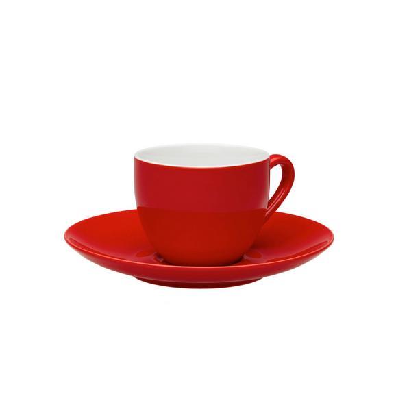 Espressotasse mit Untertasse Sandy in Rot aus Keramik - Rot, KONVENTIONELL, Keramik (6,4/5cm) - Mömax modern living