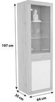 Vitrina Malta - aluminij/siva, Moderno, umetna masa/steklo (63,9/196,6/34,9cm) - Mömax modern living