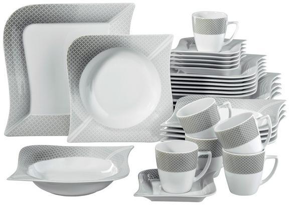 Kombinirani Servis Moonlight - siva/bela, keramika (36/33/28,5cm) - Premium Living