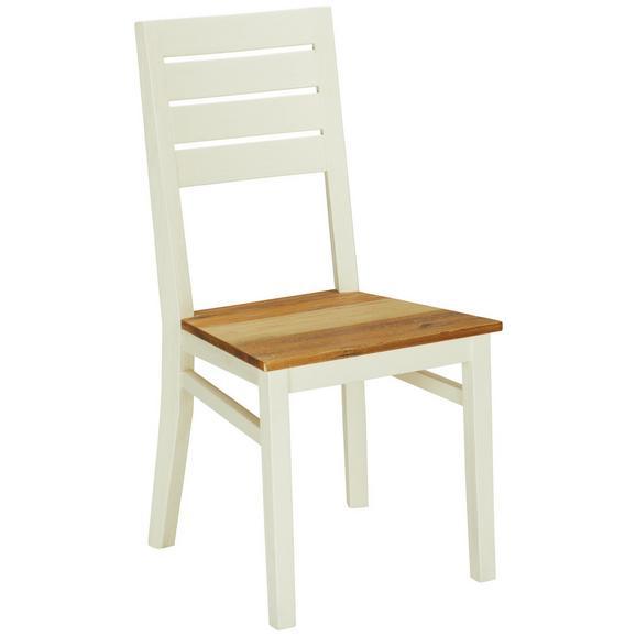Stuhl in Weiß Massiv - Multicolor/Braun, ROMANTIK / LANDHAUS, Holz (54/97/47/47cm) - Premium Living