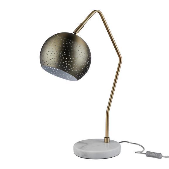 Tischleuchte Claudie - Weiß/Bronzefarben, MODERN, Metall (55cm) - Modern Living
