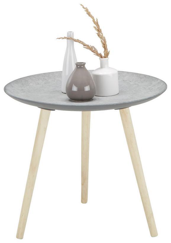 Beistelltisch in Grau/Natur aus Echtholz - Naturfarben/Braun, Holz/Holzwerkstoff (54,5/47,5/54,50cm) - Mömax modern living