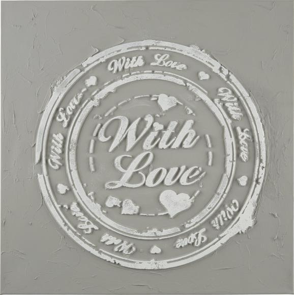 Kép Love - Színes, romantikus/Landhaus, Fa/Textil (3/60/60cm)