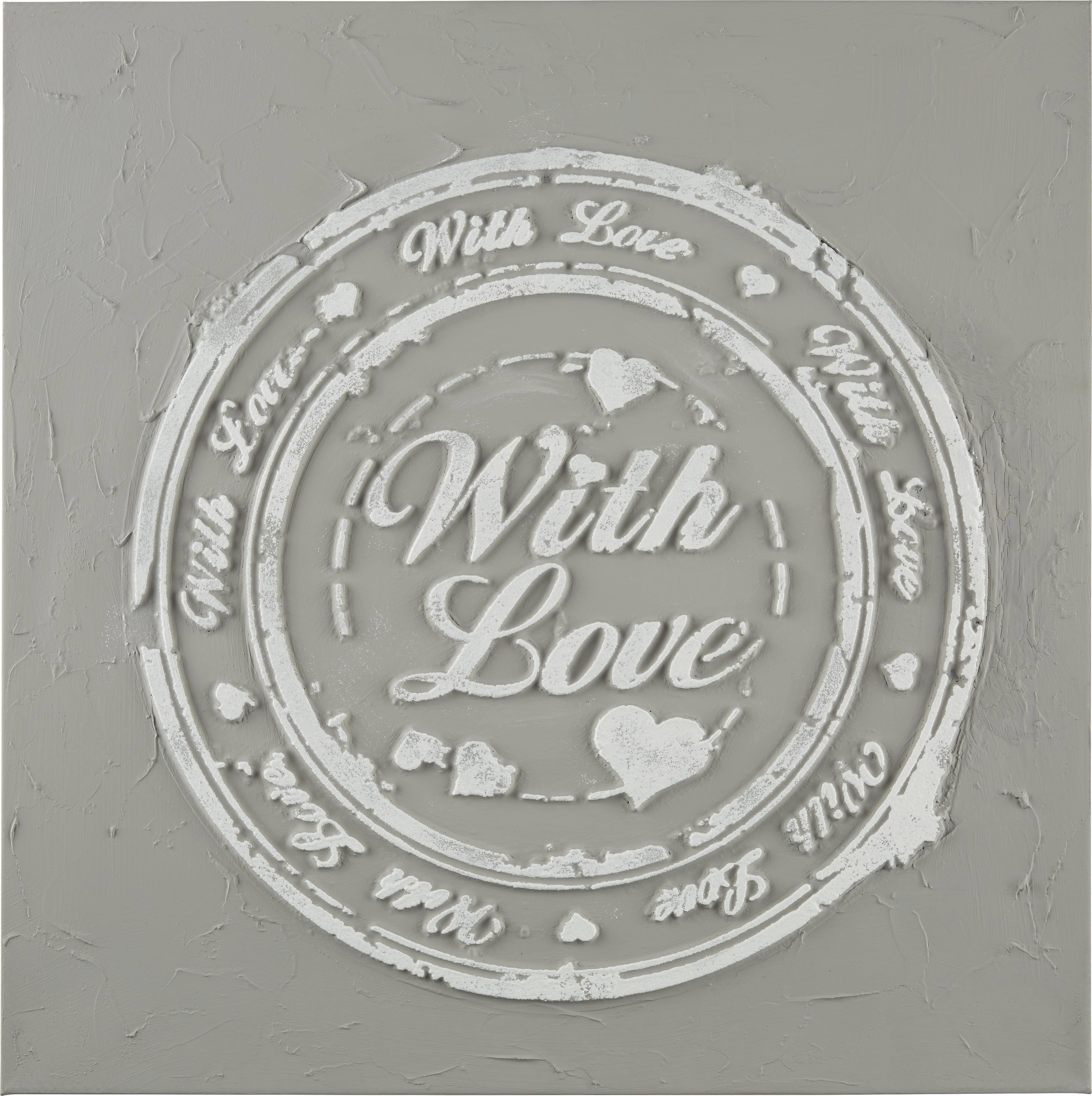 Slika Love - večbarvno, Romantika, tekstil/les (3/60/60cm)