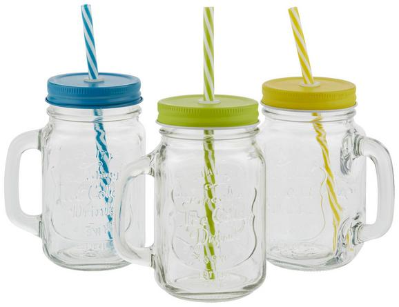 Trinkglas Maria mit Deckel U. Strohhalm - Türkis/Gelb, Glas/Kunststoff (7,6/13,5cm) - Mömax modern living
