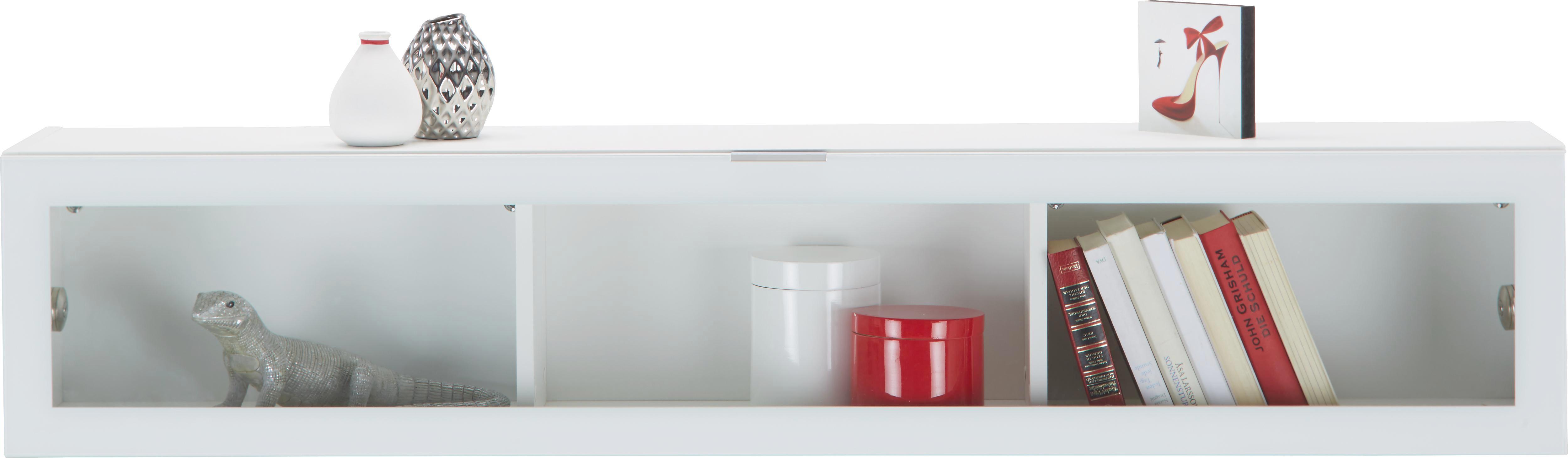 Hängeelement in Weiß/Weißglas - Chromfarben/Weiß, MODERN, Glas/Holzwerkstoff (163/32/28cm) - PREMIUM LIVING