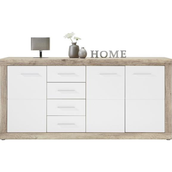 Kommode in Weiß Hochglanz/Canyon Grey - Chromfarben/Weiß, MODERN, Holzwerkstoff/Kunststoff (179/86/40cm) - Mömax modern living
