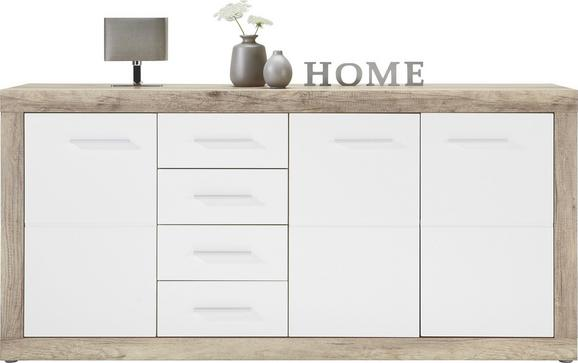 Kommode Weiß Hochglanz/canyon Grey - Chromfarben/Weiß, MODERN, Holzwerkstoff/Kunststoff (179/86/40cm) - Mömax modern living
