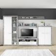 Element Tv Malta - alb/culoare aluminiu, Modern, plastic/compozit lemnos (128/50/42cm)
