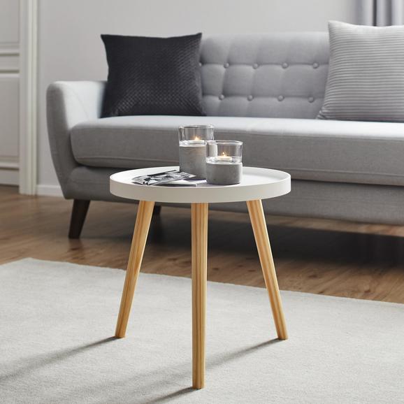 Couchtisch Dilara ca.40x40cm - Weiß/Pinienfarben, MODERN, Holz (40/40cm) - Modern Living