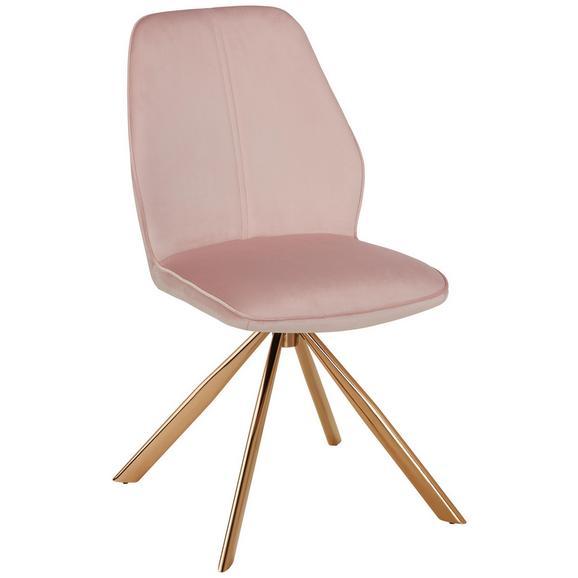 Stuhl in Rosa aus Samt - Goldfarben/Rosa, LIFESTYLE, Textil/Metall (44/89/62cm) - Premium Living