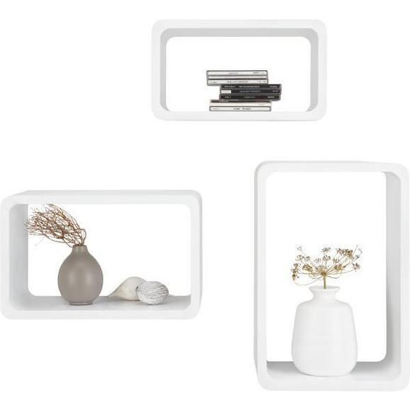 Wandregalset Weiß Hochglanz - Weiß, MODERN, Metall (45/40/35/30/25/20/20cm) - Mömax modern living