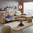Wohnlandschaft in Braun mit Relaxfunktion - Schwarz/Braun, MODERN, Holz/Kunststoff (309cm) - Mömax modern living
