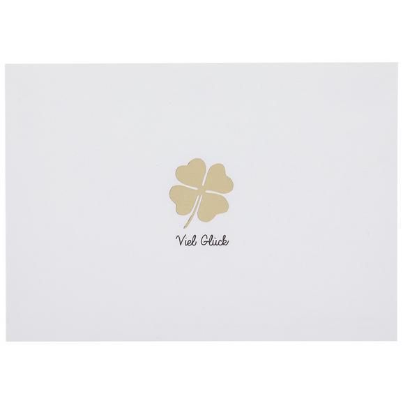 Postkarte Viel Glück - Goldfarben/Weiß, Papier (14,8/10,5cm)