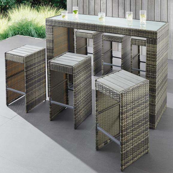 Gartenbarset Nadine - Grau, MODERN, Glas/Kunststoff - Modern Living