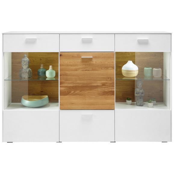 Highboard in Weiß Massiv - Chromfarben/Eichefarben, MODERN, Glas/Holz (177/117/42cm) - Premium Living