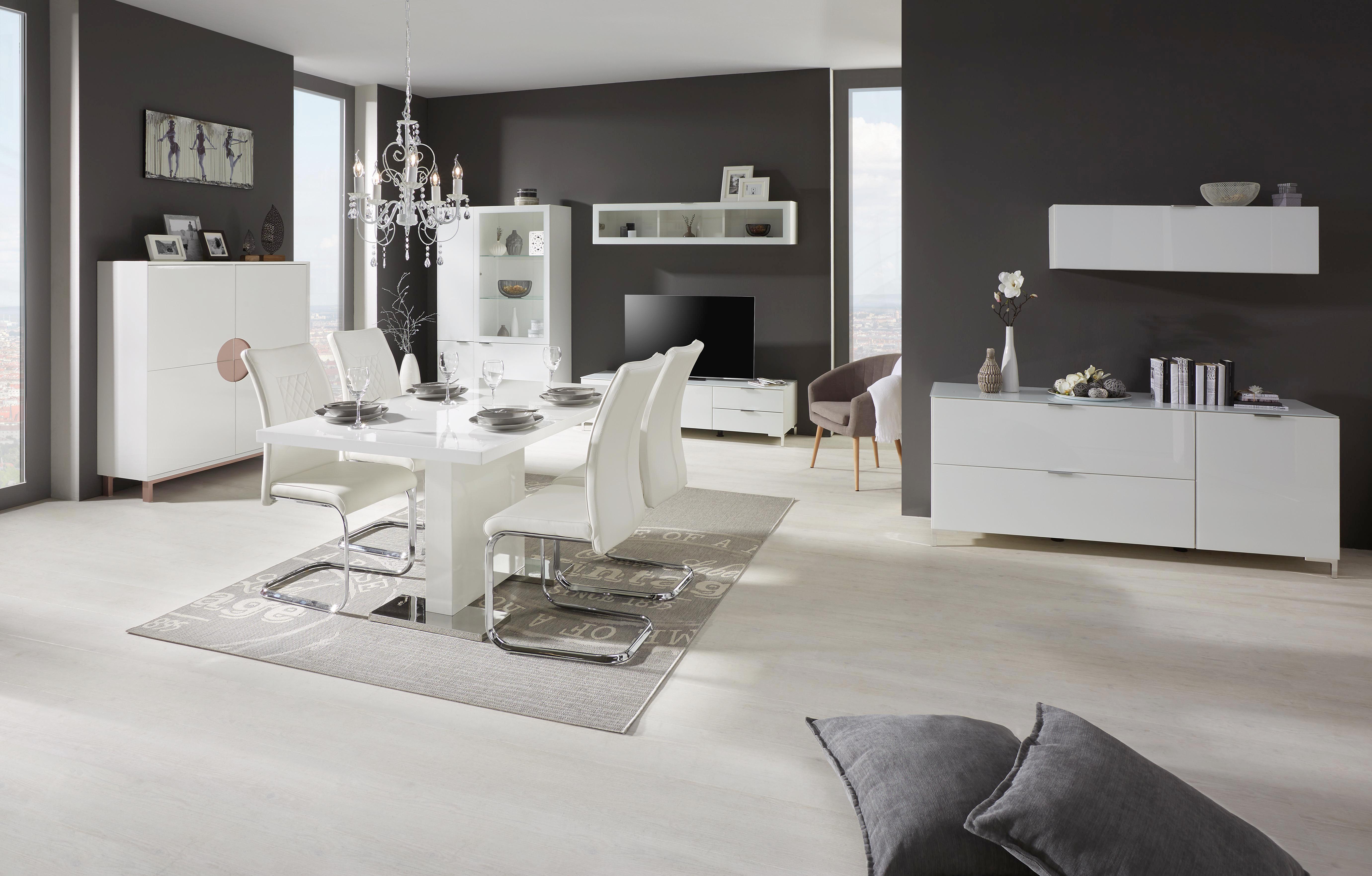 Hängeelement in Weiß/Weißglas - Chromfarben/Schwarz, MODERN, Glas/Holzwerkstoff (109/32/28cm) - PREMIUM LIVING
