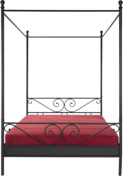 Postelja Z Baldahinom Manege - črna, Romantika, kovina (209/147/37cm) - ZANDIARA