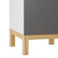 Hochschrank Grau/Holz 'Rocco' - Naturfarben/Weiß, MODERN, Holz (42,6/175/35cm) - Bessagi Home