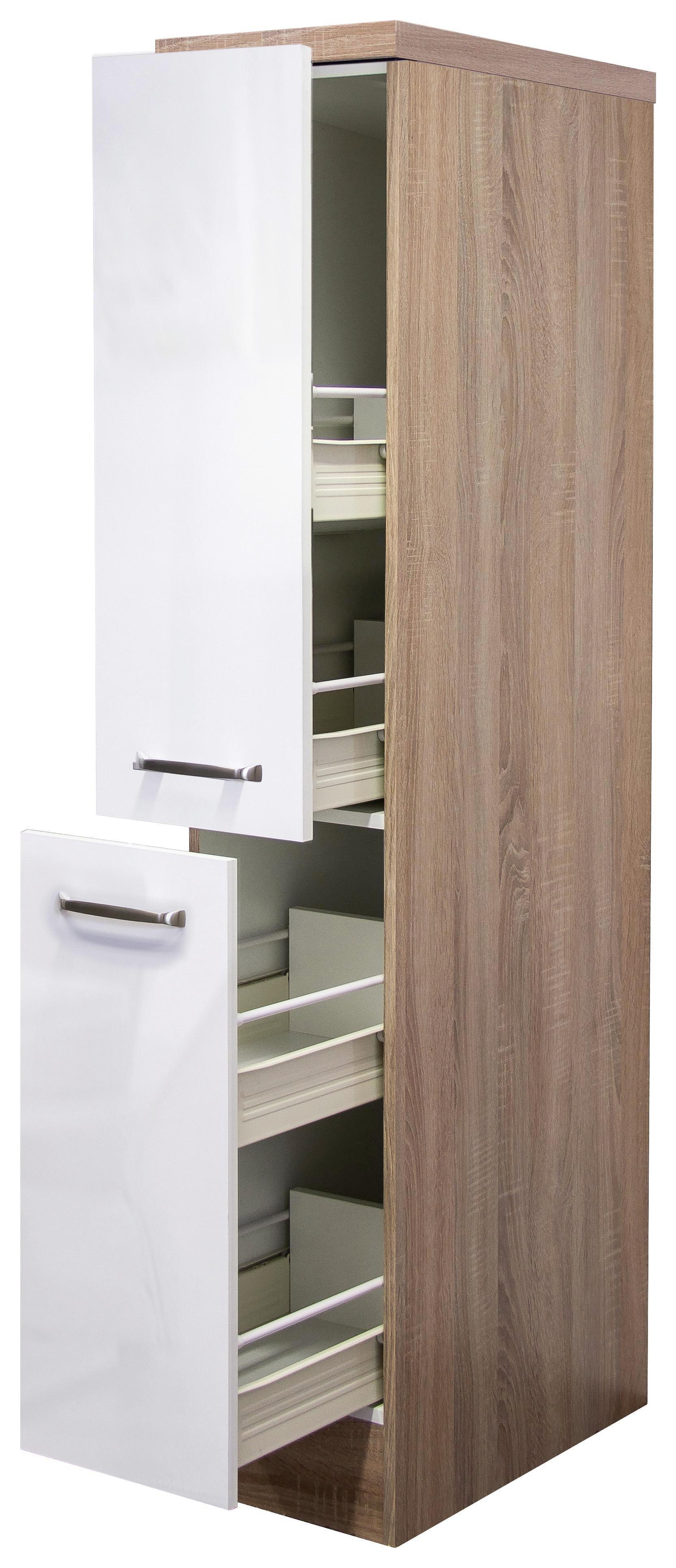 Apothekerschrank In Weiß/Eiche   Edelstahlfarben/Eichefarben, MODERN,  Holzwerkstoff/Metall (