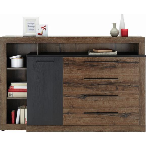 Comodă Bellevue - culoare lemn stejar/negru, Lifestyle, plastic/compozit lemnos (162/108/42cm)