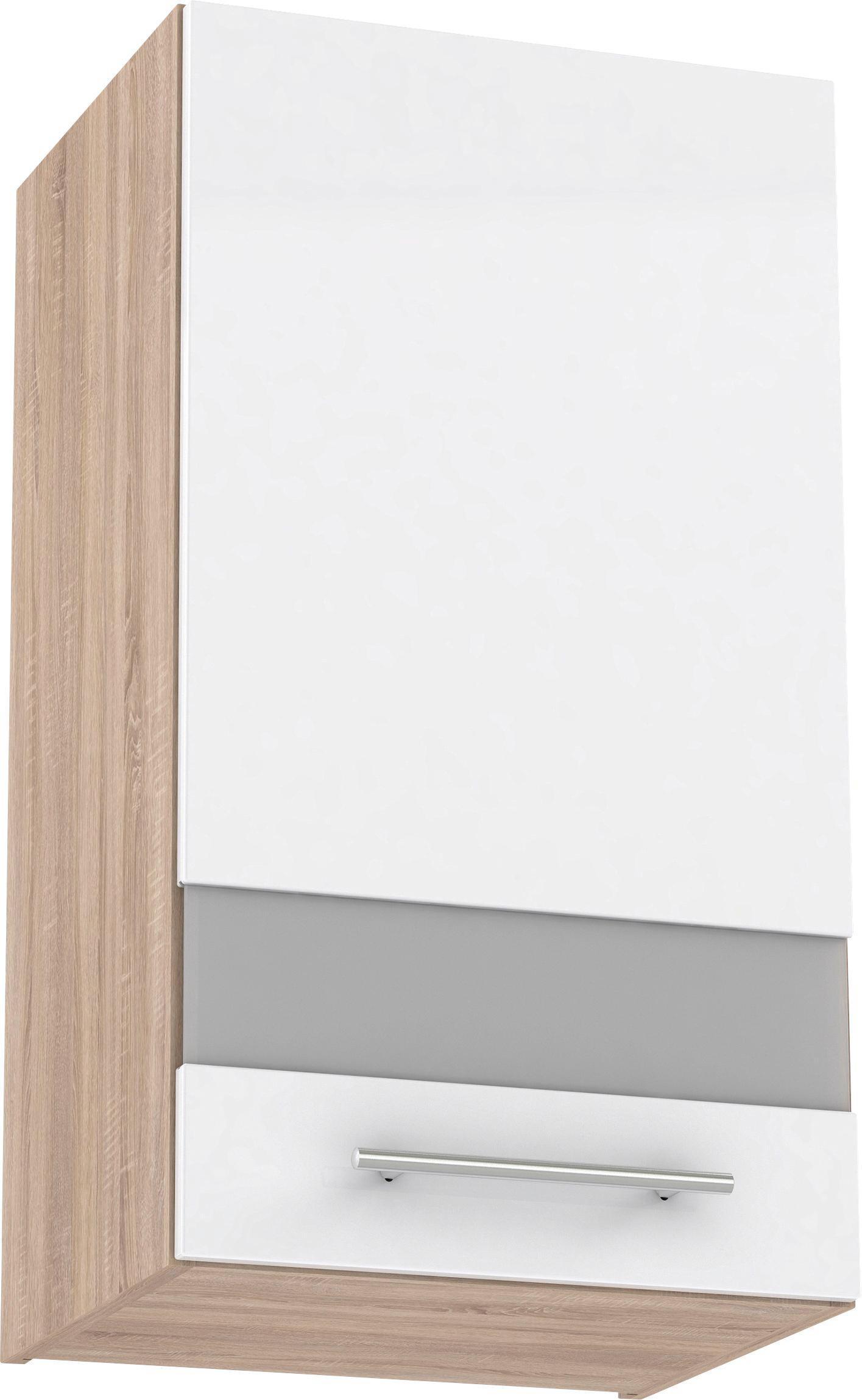Konyha Felsőszekrény Multiforte - Sonoma tölgy/fehér, üveg/fa (40/72,3/34,6cm)