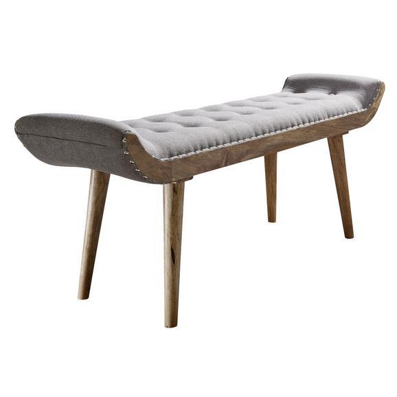 Sitzbank in Grau - Braun/Grau, MODERN, Holz/Textil (128/51/38cm) - Livetastic