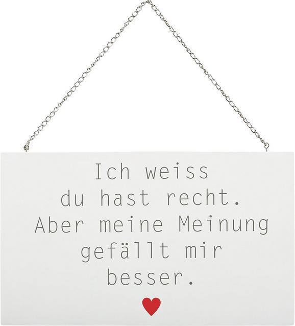 Dekoschild Reimi in Weiß/Grau/rot - Rot/Weiß, MODERN, Holzwerkstoff/Metall (23,2/13,5/0,5cm) - Mömax modern living