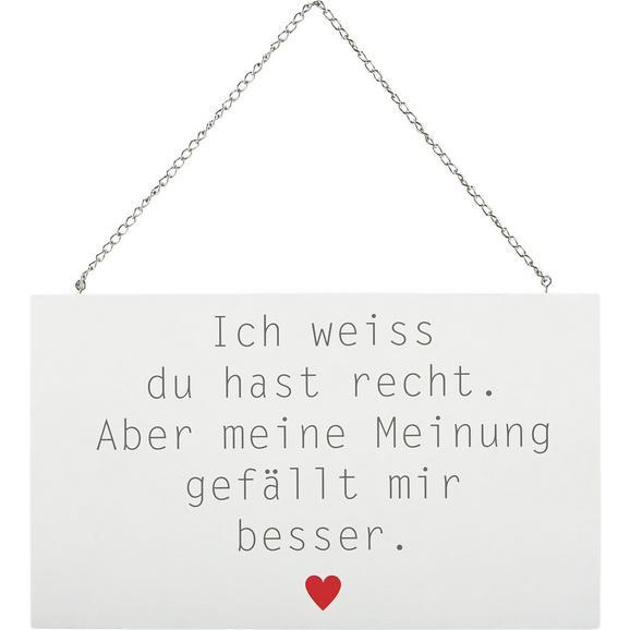 Dekoschild Reimi Weiß/Grau/Rot - Rot/Weiß, MODERN, Holzwerkstoff/Metall (23,2/13,5/0,5cm) - Mömax modern living