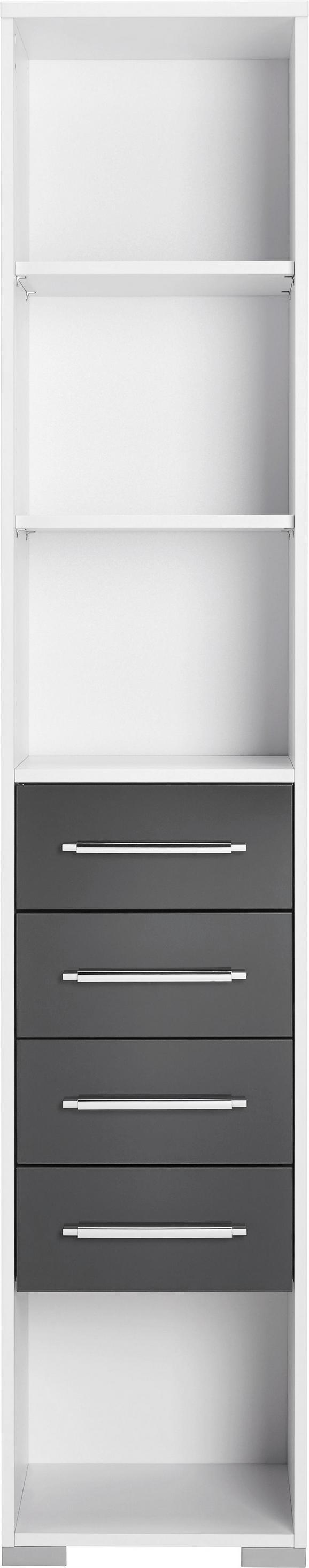 Aktenregal in Weiß, exkl. Fronten - Silberfarben/Weiß, MODERN, Holzwerkstoff/Kunststoff (42,1/214,5/40cm) - MÖMAX modern living