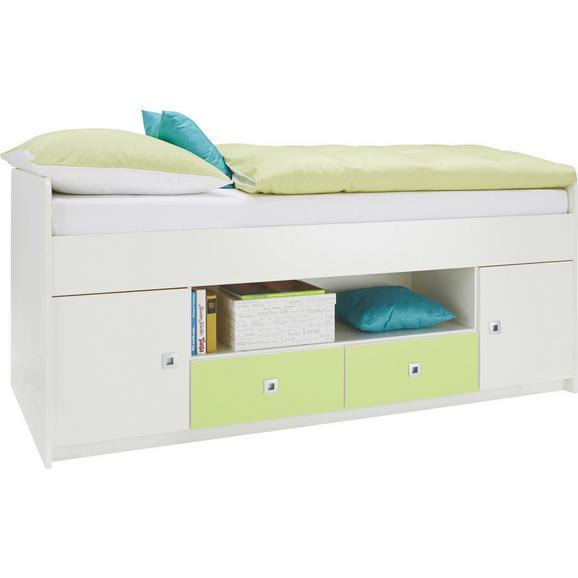 Postelja 90x200 Cm Sunny - bela/svetlo zelena, Moderno, les (204/74/95cm) - Premium Living