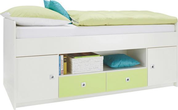 Postelja Sunny - bela/svetlo zelena, Moderno, les (204/74/95cm) - Premium Living