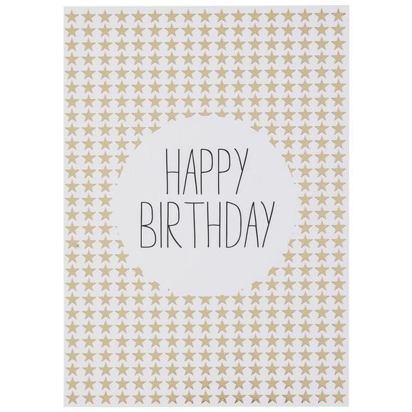 Postkarte Happy Birthday - Goldfarben/Schwarz, MODERN, Papier (10,5/14,8cm)