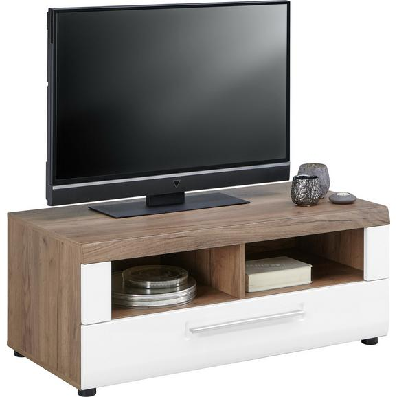 Element Tv Avensis - alb/culoare lemn stejar, Modern, plastic/compozit lemnos (100/41,1/49,6cm) - Luca Bessoni