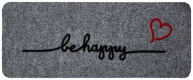 Predpražnik Be Happy - siva, Moderno, tekstil (60/25cm) - Modern Living