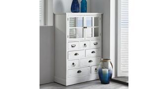 Vitrine aus Tanne in Weiß 'Lewis Vintage' - Weiß, MODERN, Glas/Holz (77l) - Bessagi Home