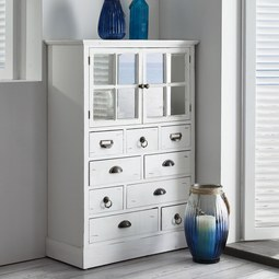VITRINE in Weiß 'Lewis Vintage' - Weiß, MODERN, Glas/Holz (77l) - Bessagi Home