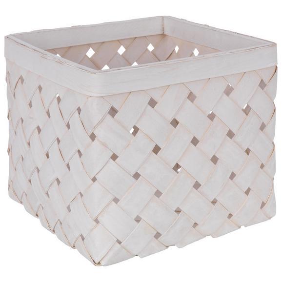 Košara Cubus - S - bela/svetlo siva, Romantika, ostali naravni materiali (24/24/19cm)