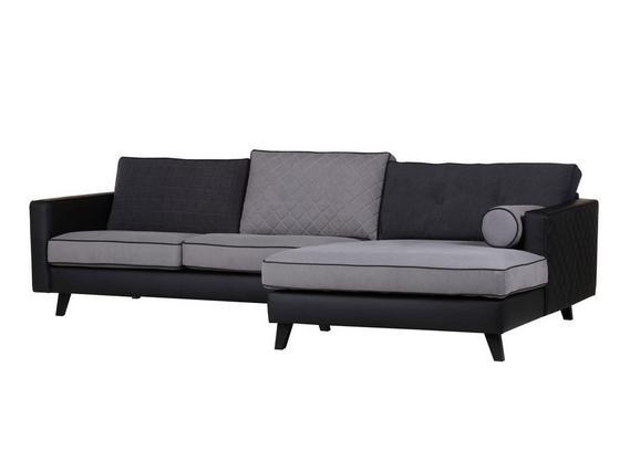 Sedežna Garnitura Showtime - siva/črna, Trendi, tekstil (296/173cm) - Premium Living