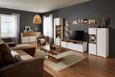 Sideboard Weiß/Eichefarben - Chromfarben/Eichefarben, MODERN, Holzwerkstoff/Metall (170/88/44cm) - Modern Living