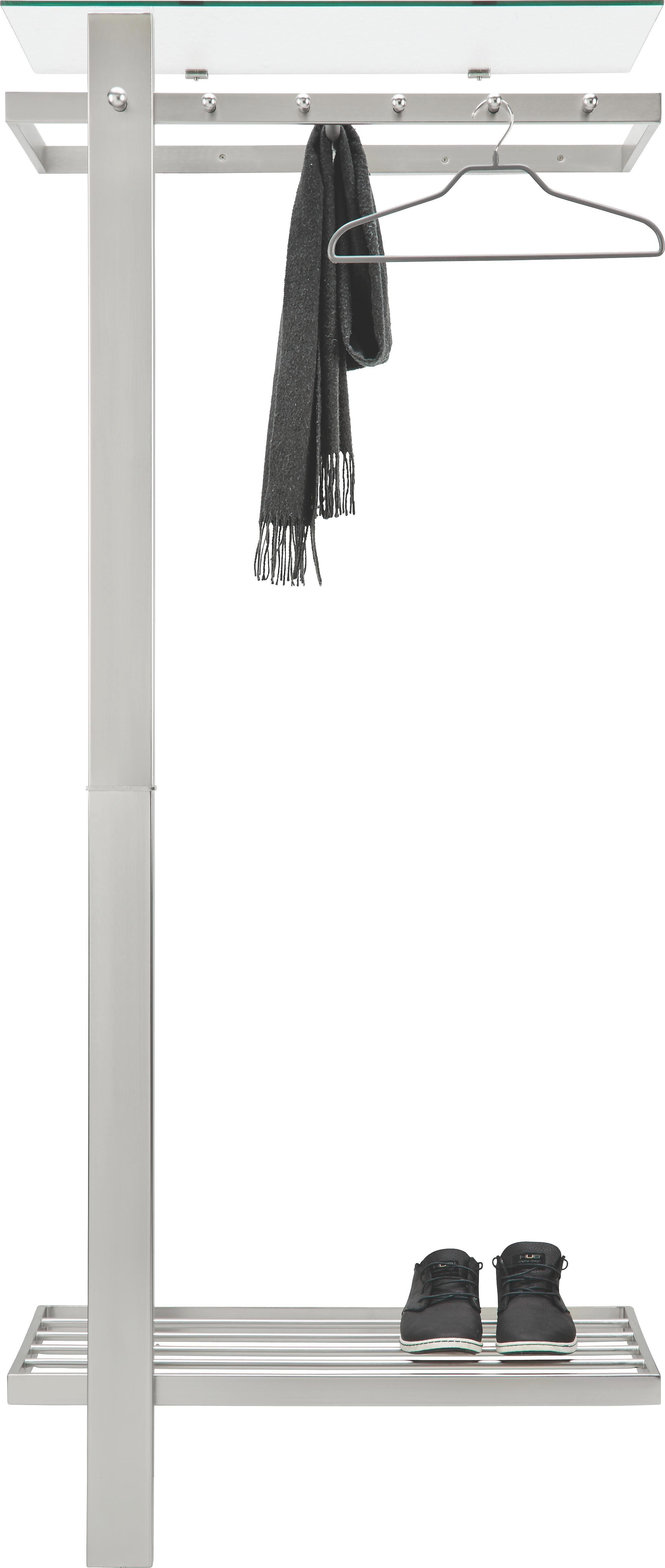 Garderobe in Edelstahloptik - Edelstahlfarben, MODERN, Glas/Metall (80/190/43cm) - MÖMAX modern living