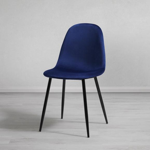 STUHL in Blau 'Lio' - Blau/Schwarz, MODERN, Holz/Textil (43/86/55cm) - Bessagi Home