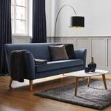 Sofa Patrick Dreisitzer - Blau, MODERN, Holz/Textil (200/84/84cm) - Modern Living