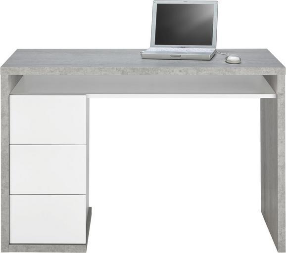 Schreibtisch in Grau/Weiß - Weiß/Grau, Holzwerkstoff (110/75/60cm) - MODERN LIVING