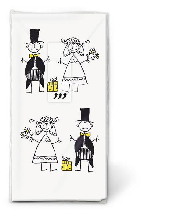 Robček Just Married - rumena/črna, papir (23/18/15cm)