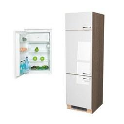Geräteumbauschrank Weiß Hochglanz/Eiche - Edelstahlfarben/Eichefarben, MODERN, Holzwerkstoff/Metall (60/200/57cm)