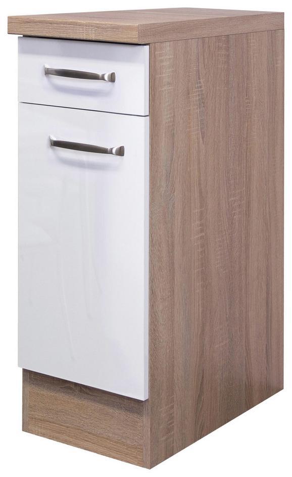 Küchenunterschrank Weiß Hochglanz/Eiche - Edelstahlfarben/Eichefarben, MODERN, Holzwerkstoff/Metall (30/86/60cm)