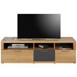 TV-Element aus Wildeiche Massiv - Eichefarben/Graphitfarben, KONVENTIONELL, Holz/Holzwerkstoff (160/52/48cm) - Zandiara