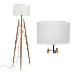 Stehleuchte max. 60 Watt 'Goa' - Schwarz/Braun, MODERN, Holz/Textil (40/156cm) - Bessagi Home